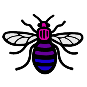 BiCon 2018 Logo, a bee in pink purple and blue Bi Pride flag colours